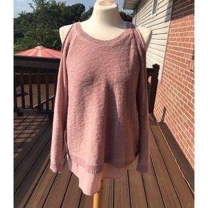 Torrid Knit Two-fer Cold Shoulder Sweater